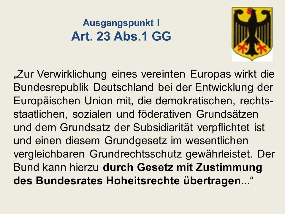 Ausgangspunkt I Art. 23 Abs.1 GG