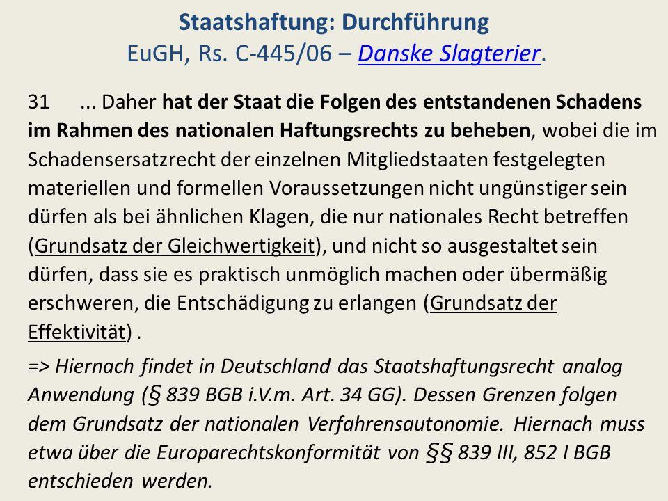 Staatshaftung: Durchführung EuGH, Rs. C-445/06 – Danske Slagterier.