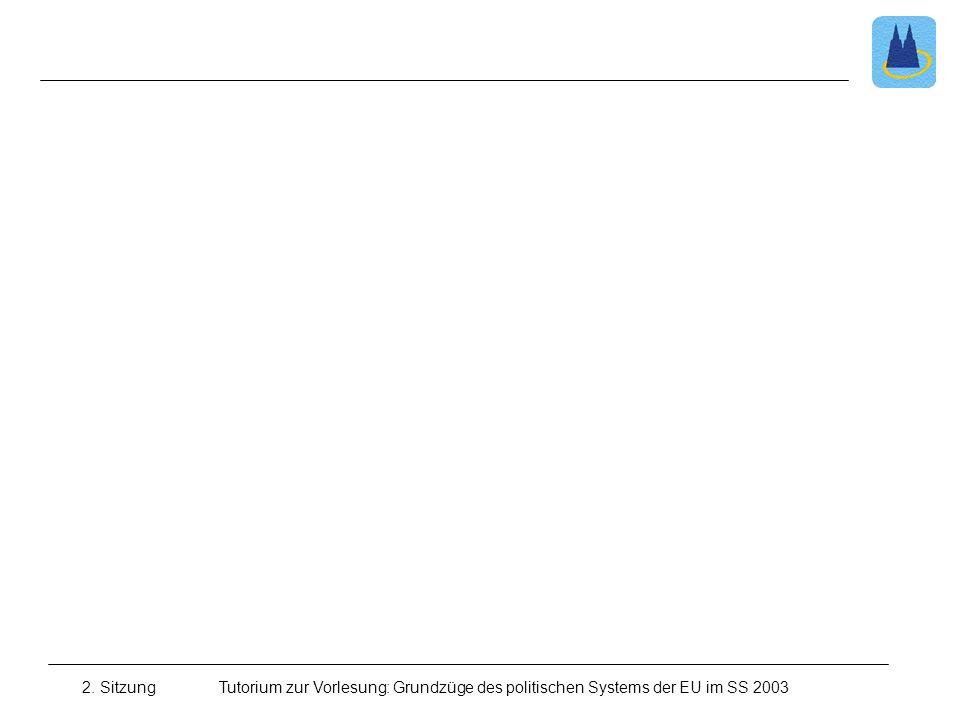 2. Sitzung Tutorium zur Vorlesung: Grundzüge des politischen Systems der EU im SS 2003