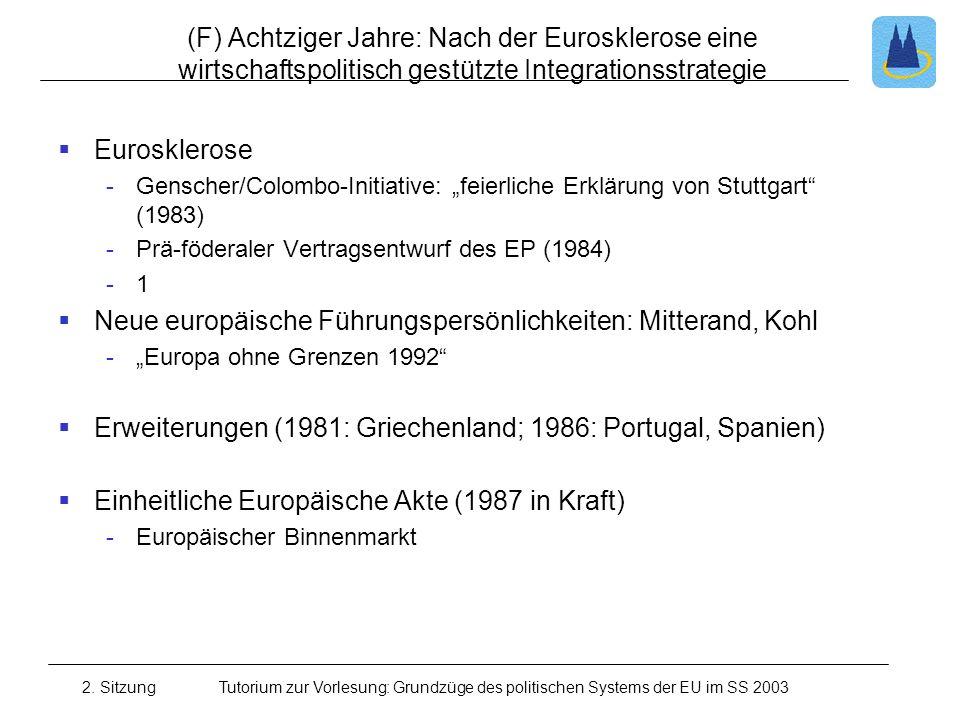 Neue europäische Führungspersönlichkeiten: Mitterand, Kohl