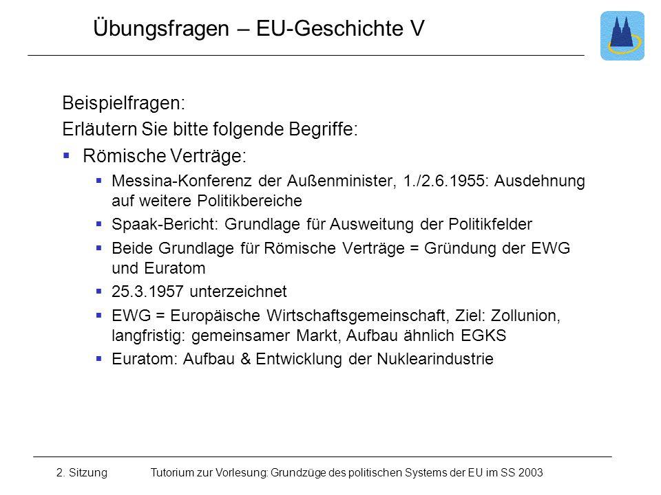 Übungsfragen – EU-Geschichte V