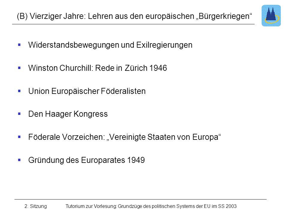 """(B) Vierziger Jahre: Lehren aus den europäischen """"Bürgerkriegen"""