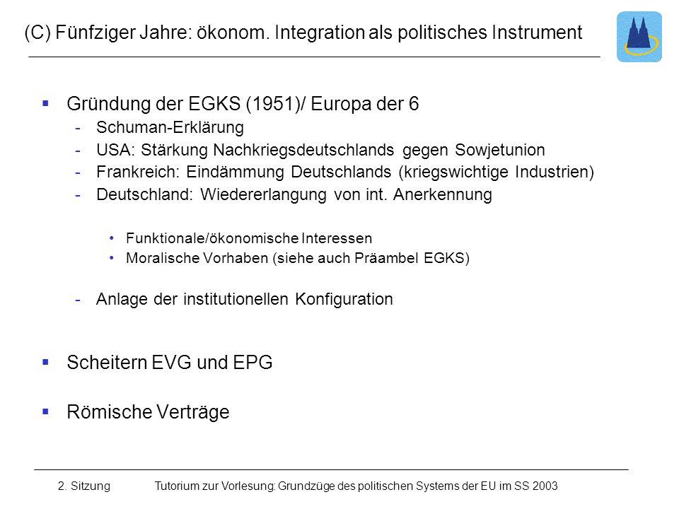 (C) Fünfziger Jahre: ökonom. Integration als politisches Instrument