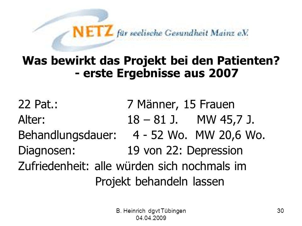 Was bewirkt das Projekt bei den Patienten - erste Ergebnisse aus 2007