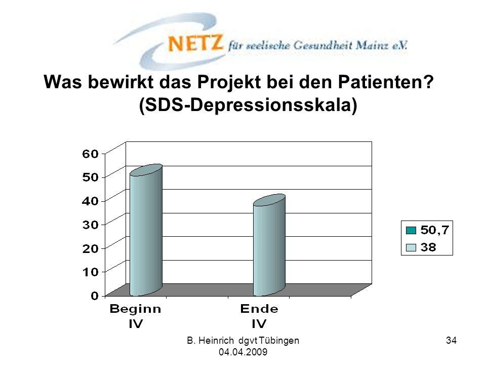 Was bewirkt das Projekt bei den Patienten (SDS-Depressionsskala)