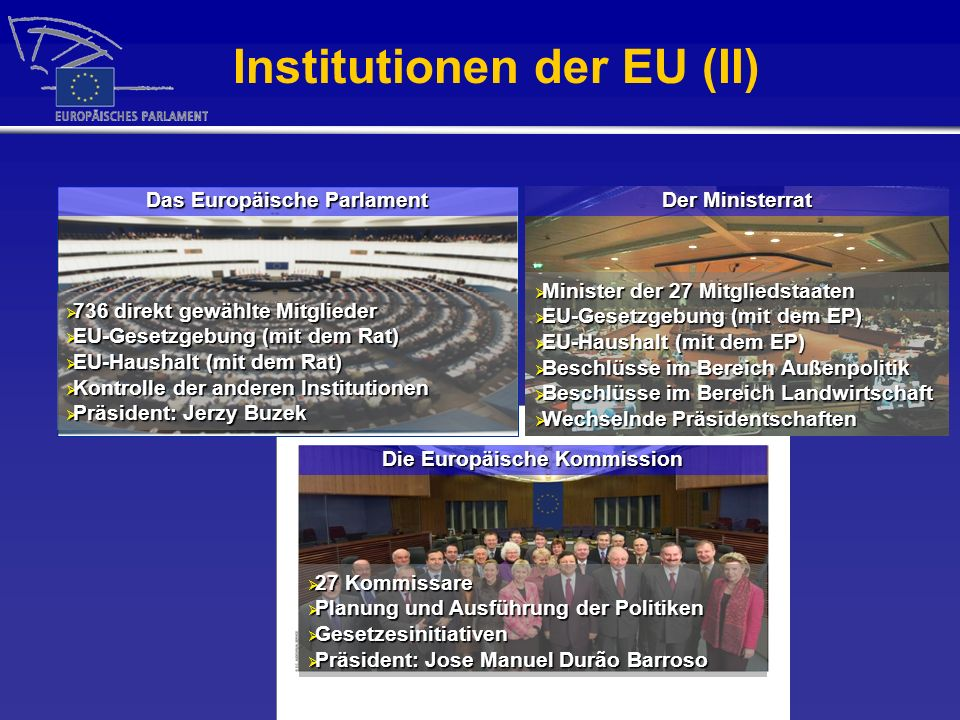 Institutionen der EU (II)