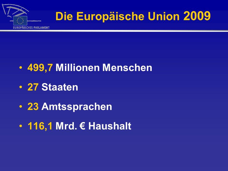 Die Europäische Union 2009 499,7 Millionen Menschen 27 Staaten