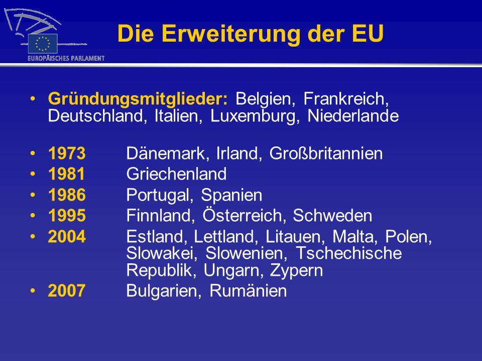 Die Erweiterung der EU Gründungsmitglieder: Belgien, Frankreich, Deutschland, Italien, Luxemburg, Niederlande.
