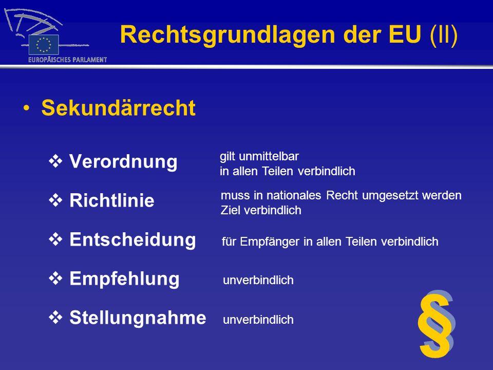 Rechtsgrundlagen der EU (II)