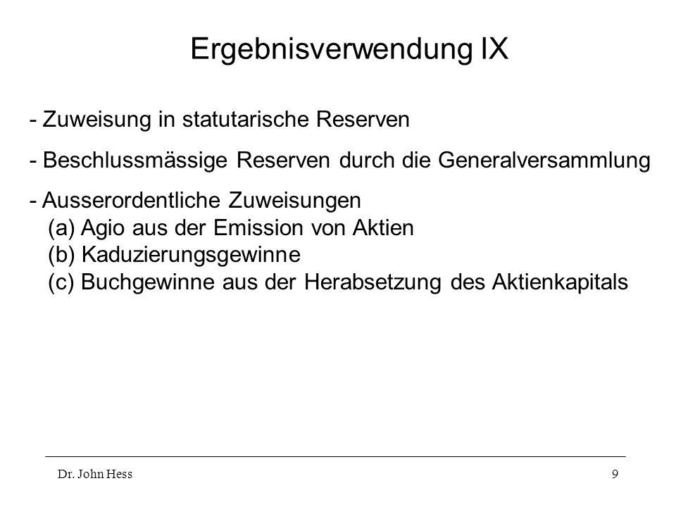 Ergebnisverwendung IX