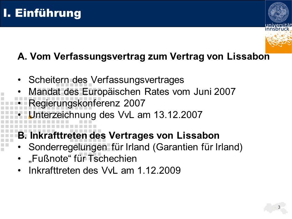 I. Einführung A. Vom Verfassungsvertrag zum Vertrag von Lissabon