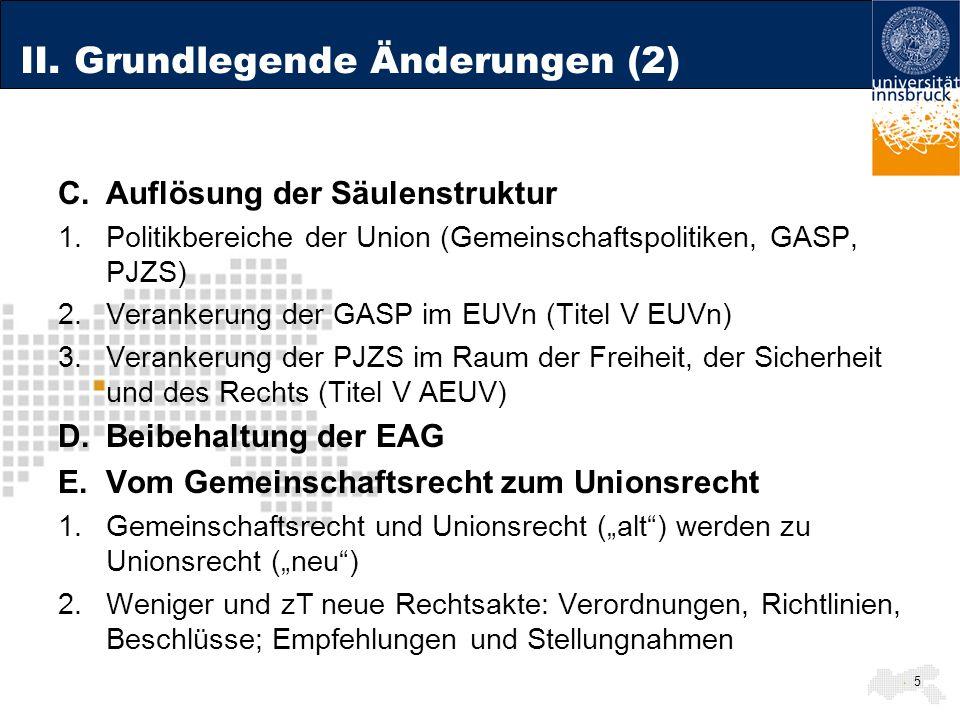 II. Grundlegende Änderungen (2)
