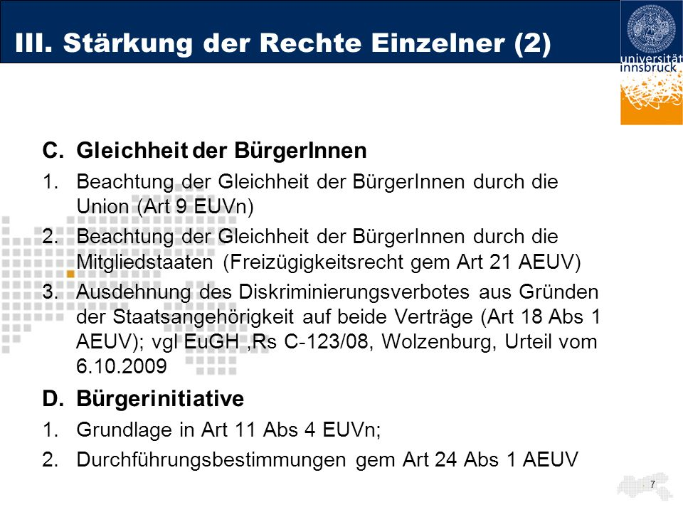 III. Stärkung der Rechte Einzelner (2)