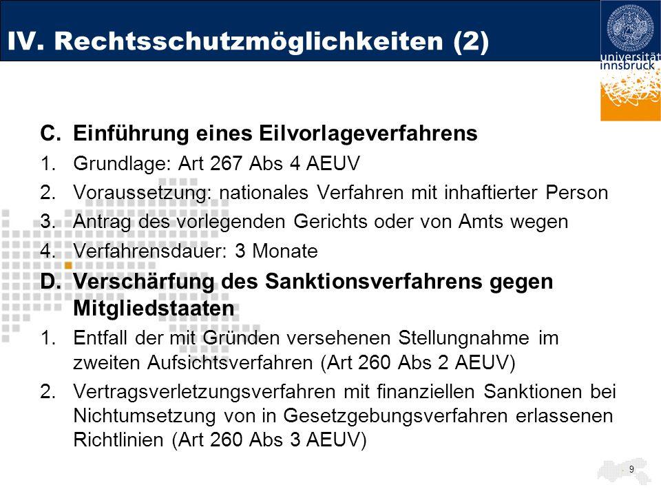 IV. Rechtsschutzmöglichkeiten (2)