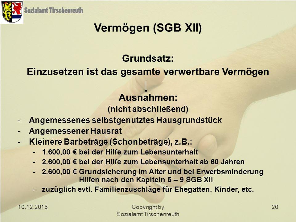 Vermögen (SGB XII) Grundsatz:
