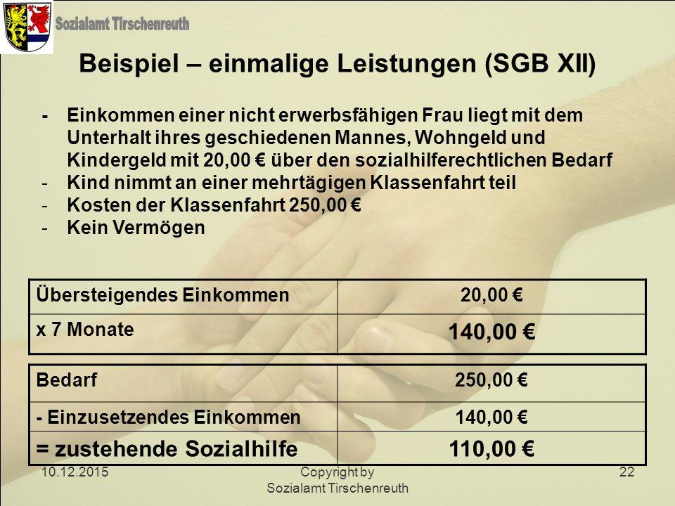 Beispiel – einmalige Leistungen (SGB XII)