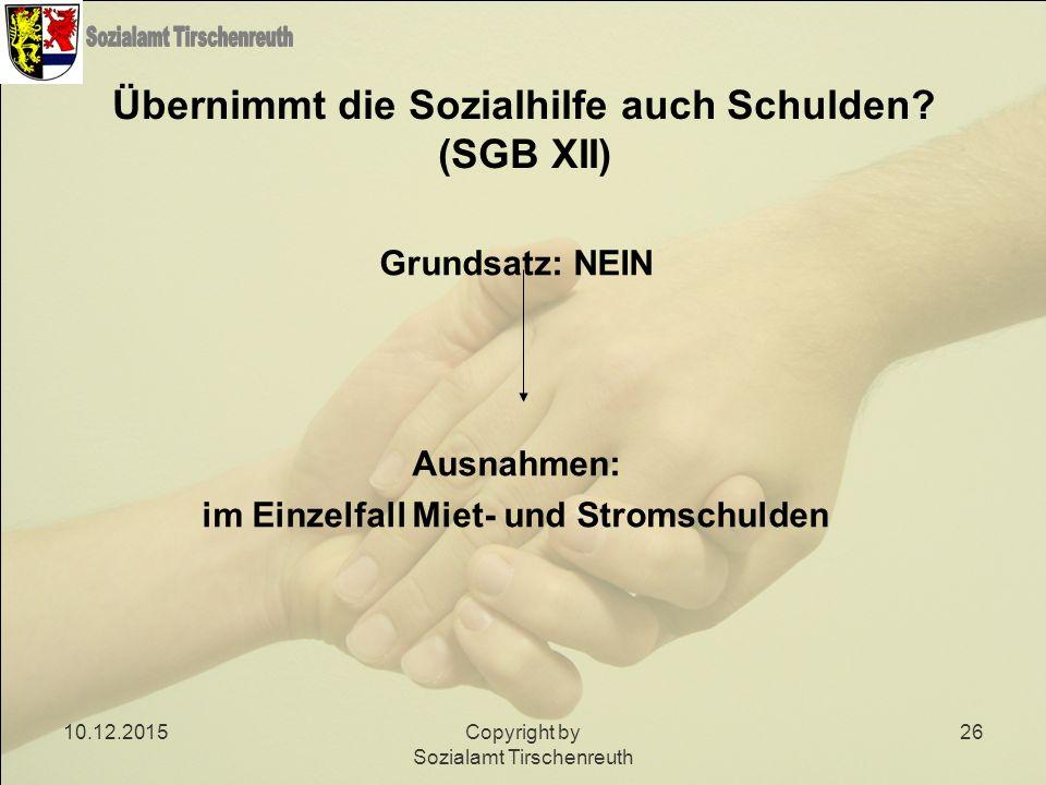 Übernimmt die Sozialhilfe auch Schulden (SGB XII)
