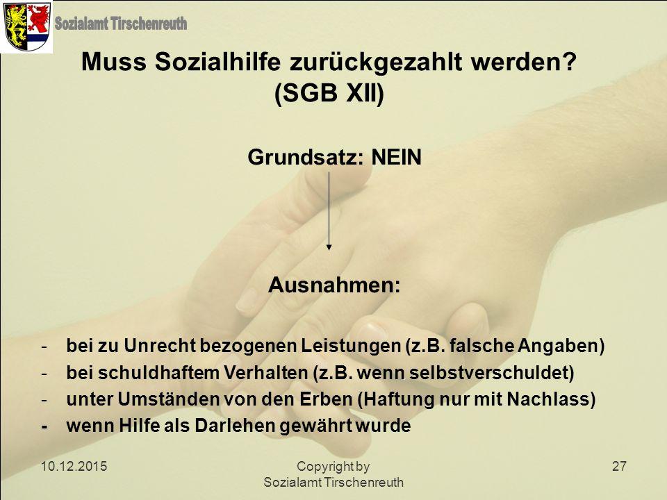 Muss Sozialhilfe zurückgezahlt werden (SGB XII)