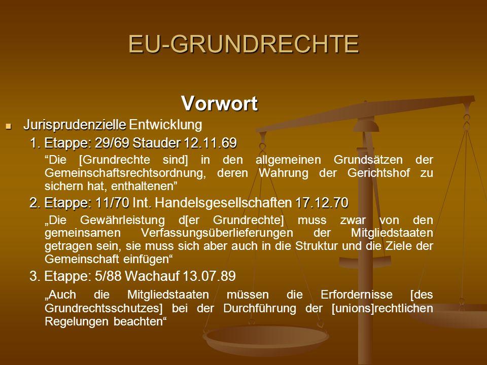 EU-GRUNDRECHTE Vorwort Jurisprudenzielle Entwicklung