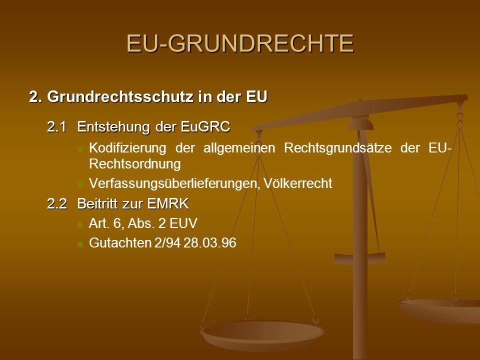 EU-GRUNDRECHTE 2.1 Entstehung der EuGRC 2. Grundrechtsschutz in der EU