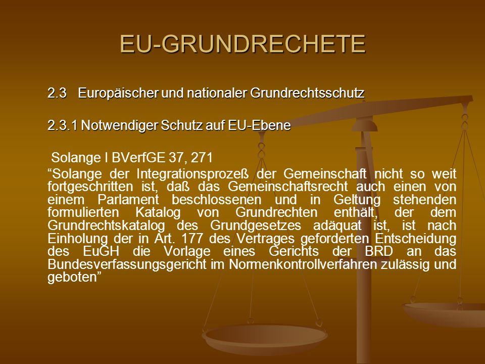 EU-GRUNDRECHETE 2.3.1 Notwendiger Schutz auf EU-Ebene