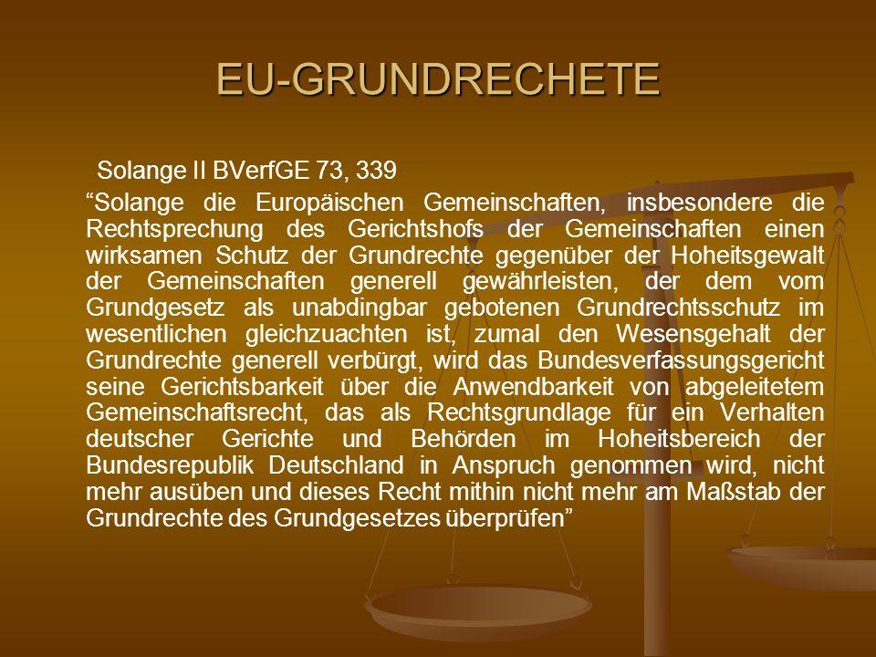 EU-GRUNDRECHETE Solange II BVerfGE 73, 339