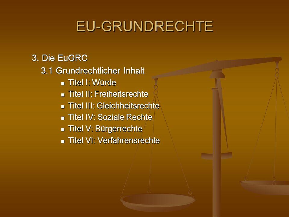 EU-GRUNDRECHTE 3. Die EuGRC 3.1 Grundrechtlicher Inhalt Titel I: Würde