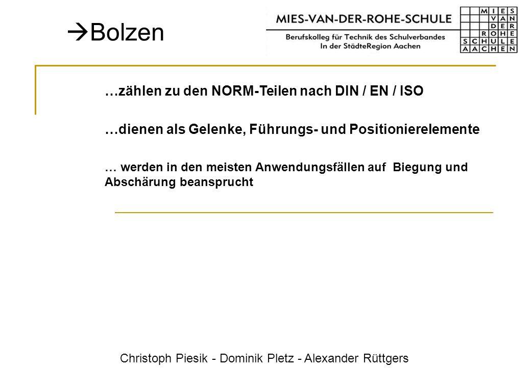 Bolzen …zählen zu den NORM-Teilen nach DIN / EN / ISO
