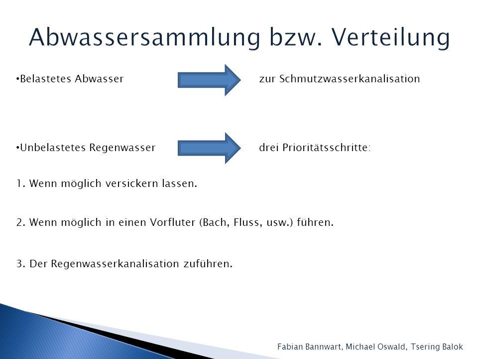 Abwassersammlung bzw. Verteilung