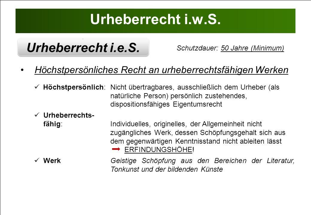 Urheberrecht i.w.S. Urheberrecht i.e.S.