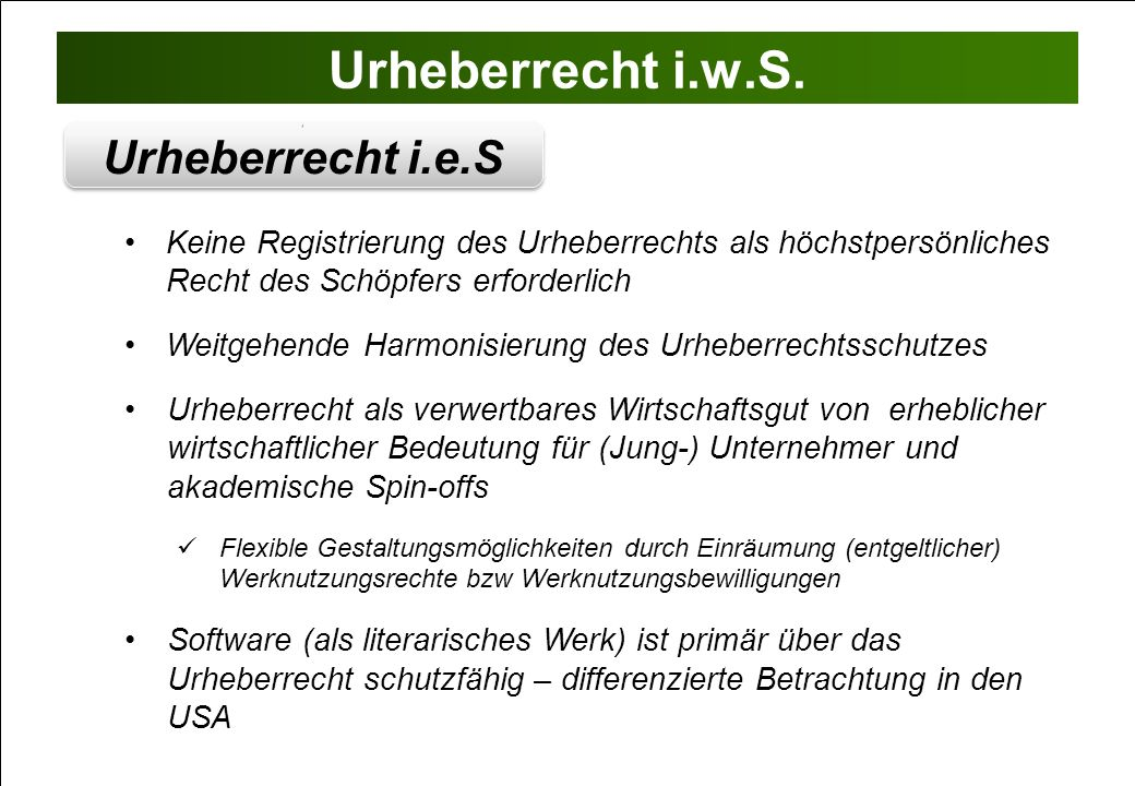 Urheberrecht i.w.S. Urheberrecht i.e.S