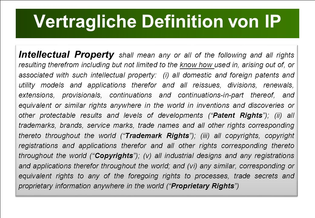 Vertragliche Definition von IP