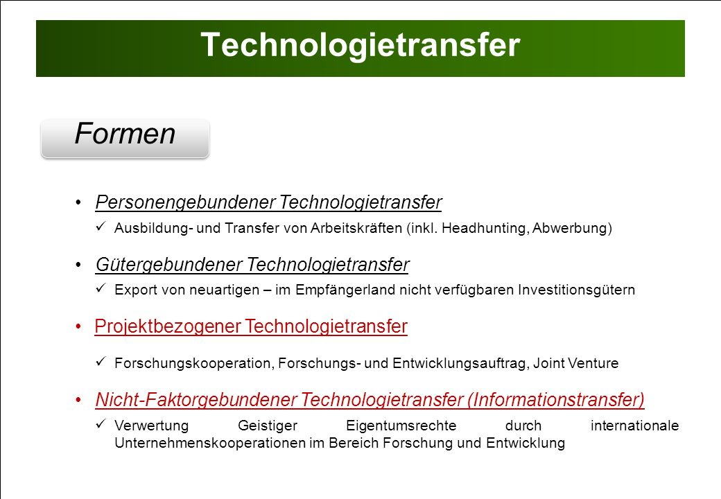 Technologietransfer Formen Personengebundener Technologietransfer