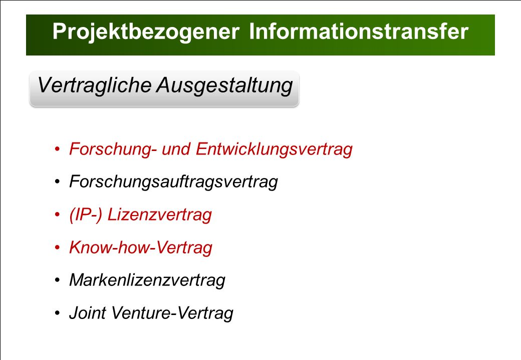 Projektbezogener Informationstransfer