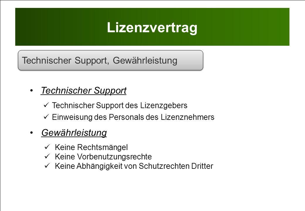 Lizenzvertrag Technischer Support, Gewährleistung Technischer Support