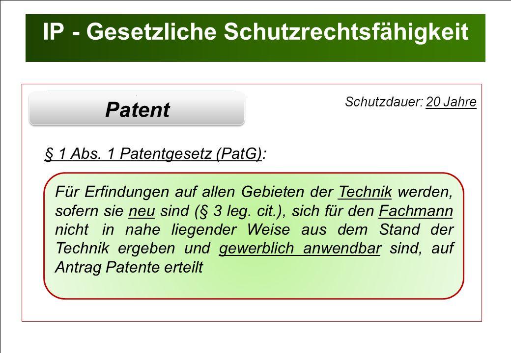 IP - Gesetzliche Schutzrechtsfähigkeit