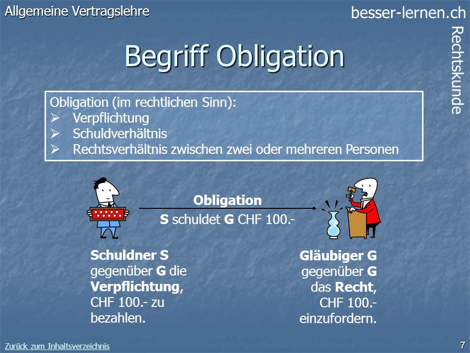 Begriff Obligation Allgemeine Vertragslehre