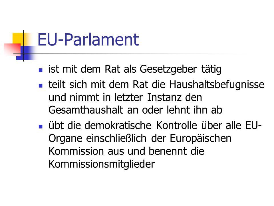 EU-Parlament ist mit dem Rat als Gesetzgeber tätig