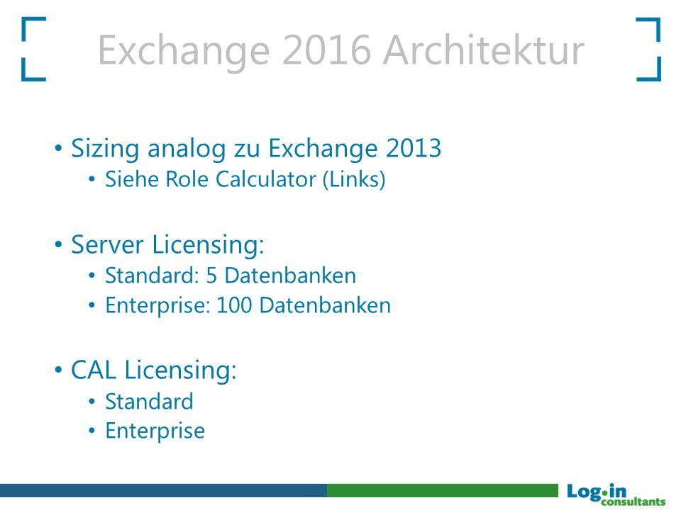 Exchange 2016 Architektur Sizing analog zu Exchange 2013