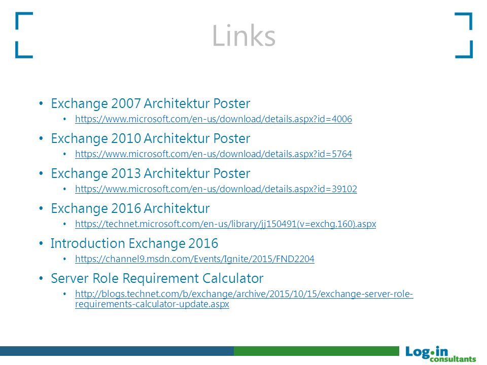 Links Exchange 2007 Architektur Poster