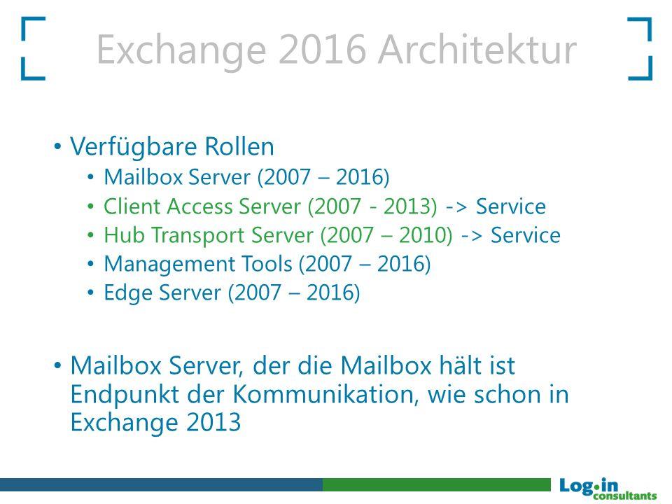 Exchange 2016 Architektur Verfügbare Rollen