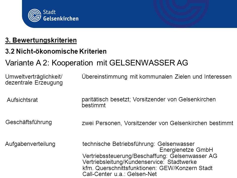 Variante A 2: Kooperation mit GELSENWASSER AG