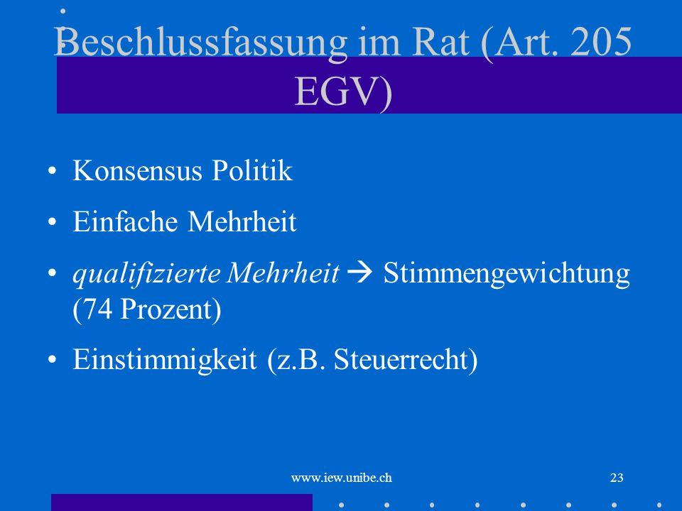 Beschlussfassung im Rat (Art. 205 EGV)