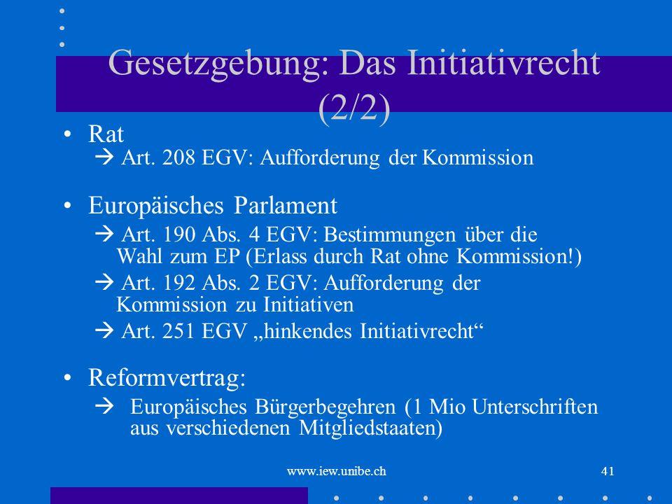 Gesetzgebung: Das Initiativrecht (2/2)