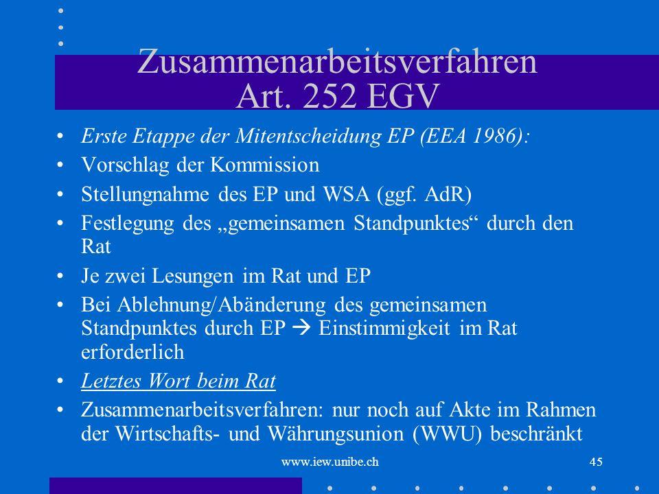 Zusammenarbeitsverfahren Art. 252 EGV