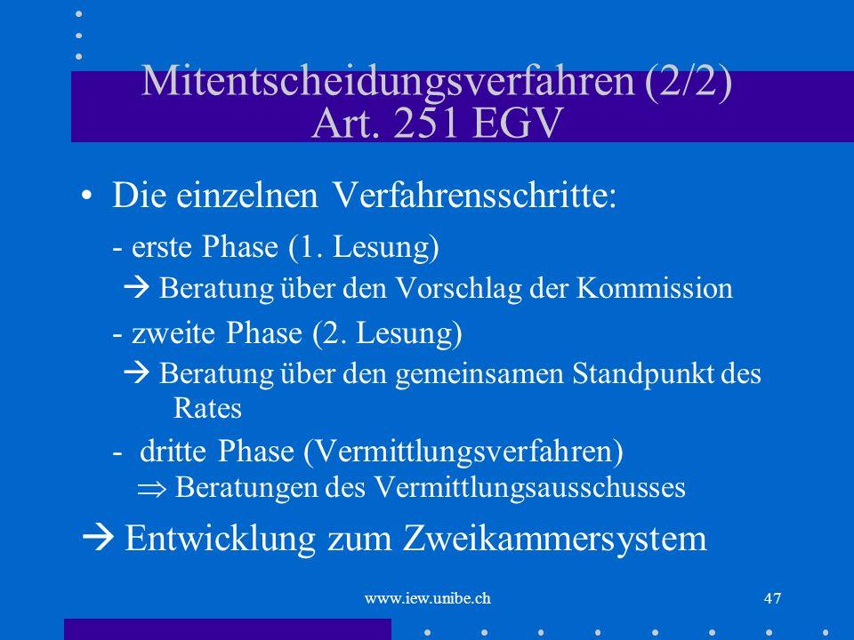 Mitentscheidungsverfahren (2/2) Art. 251 EGV