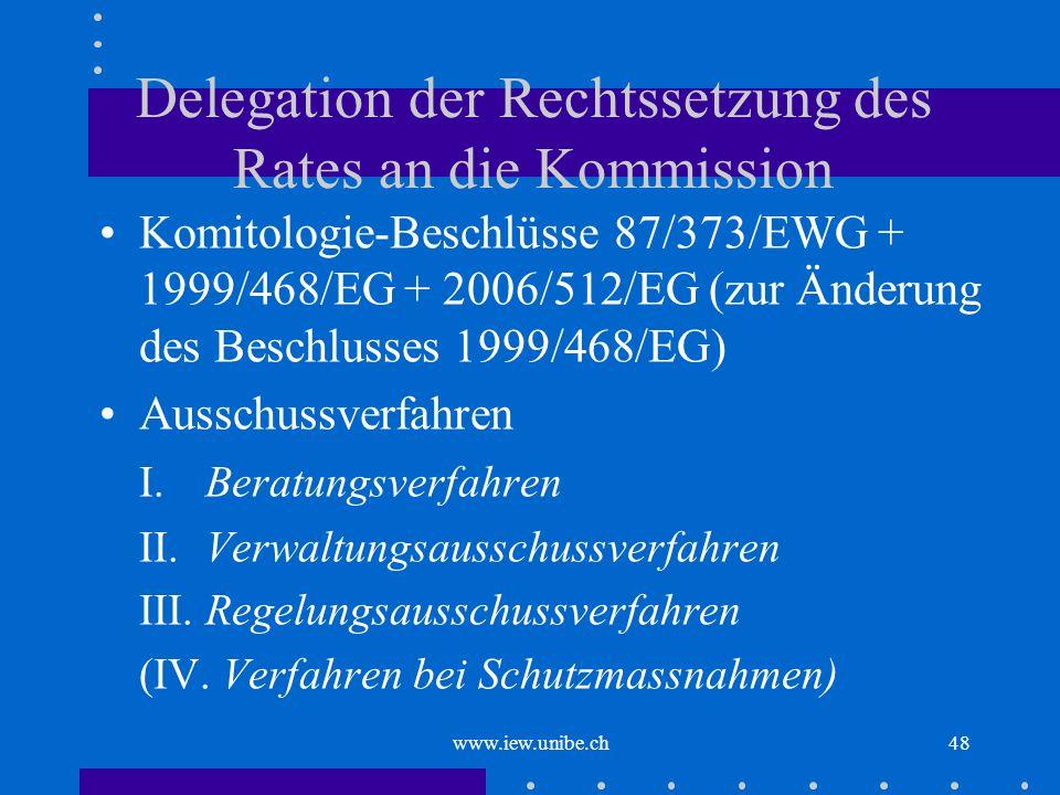 Delegation der Rechtssetzung des Rates an die Kommission
