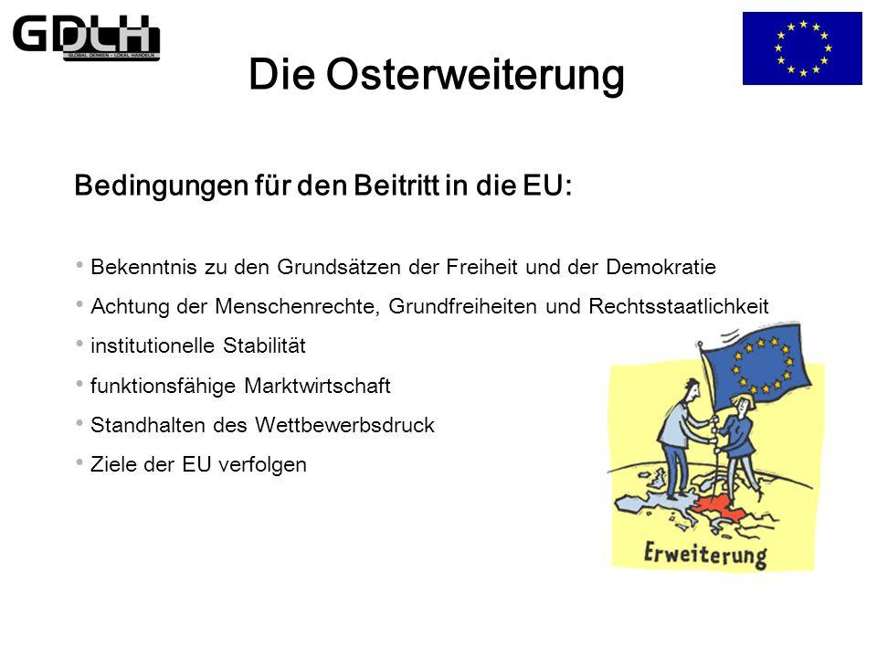 Die Osterweiterung Bedingungen für den Beitritt in die EU: