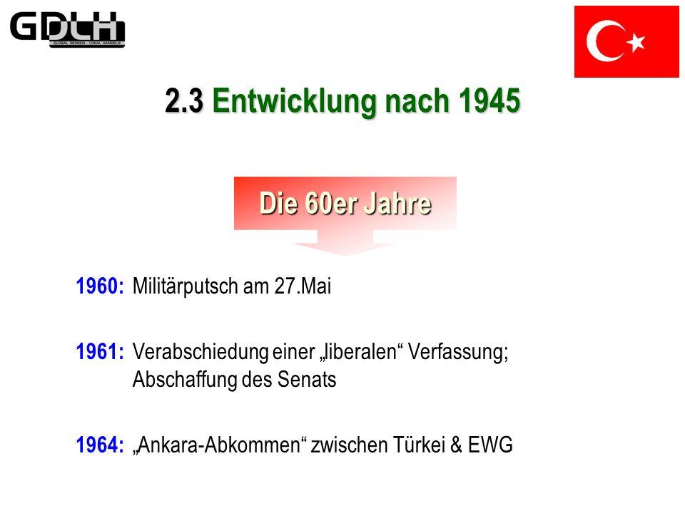 2.3 Entwicklung nach 1945 Die 60er Jahre 1960: Militärputsch am 27.Mai