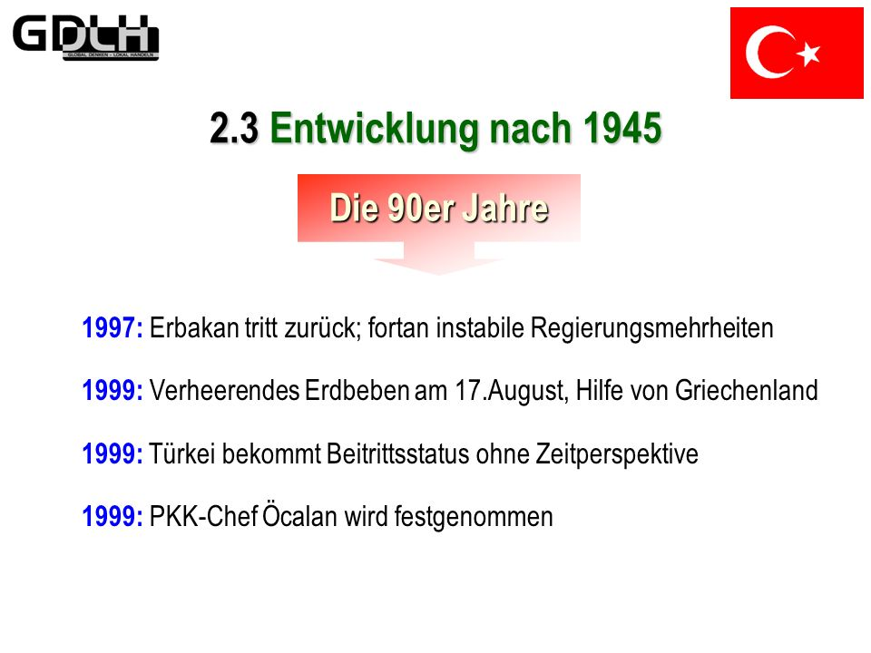 2.3 Entwicklung nach 1945 Die 90er Jahre